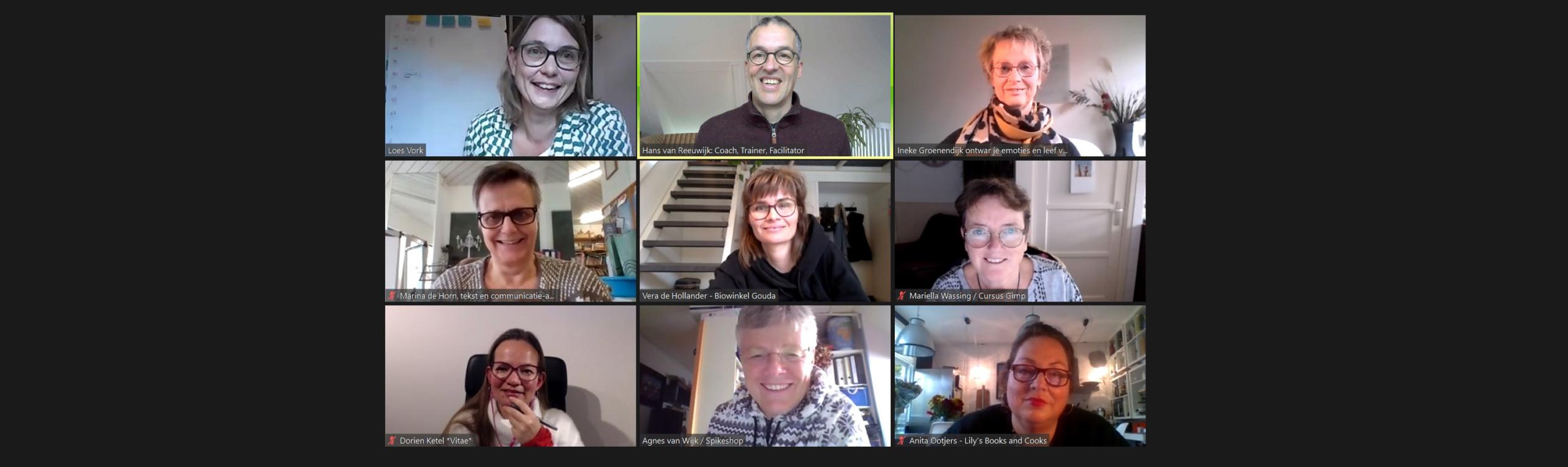 Screenshot van een online bijeenkomst