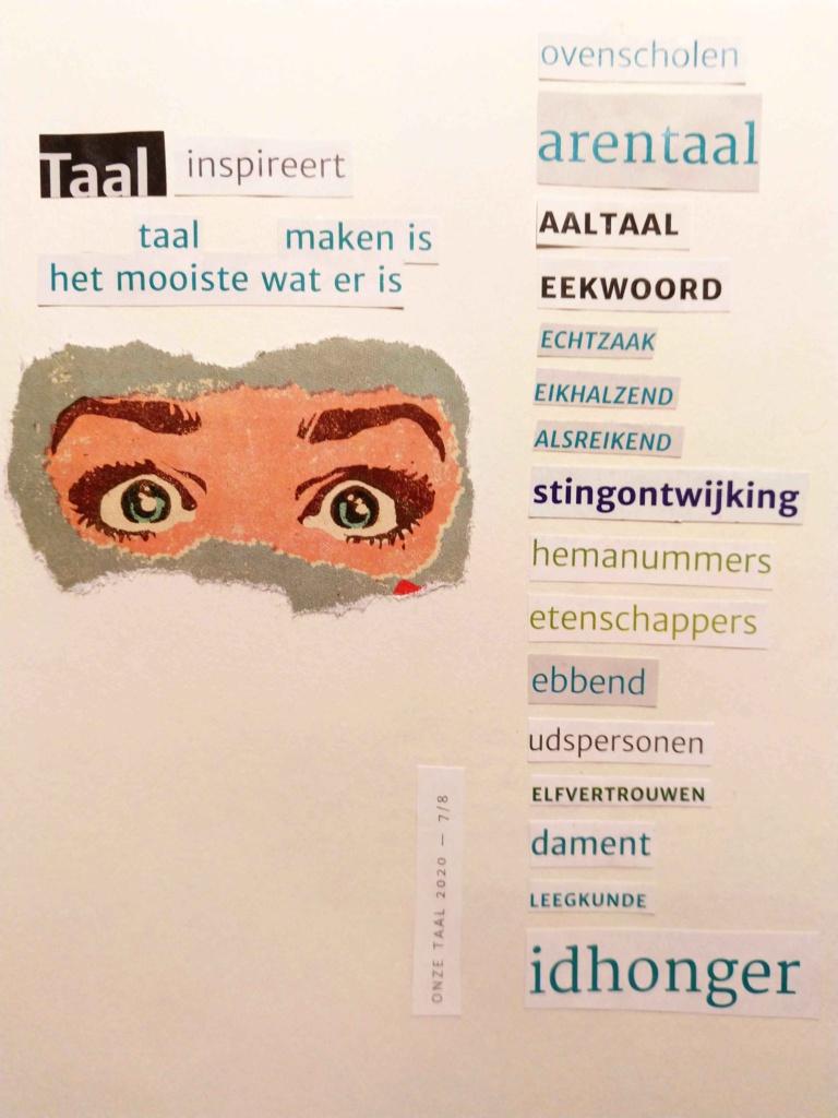Taalvondsten met tijdschrift en schaar found poetry